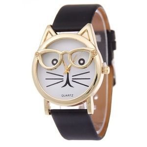 Black Cat Fashion Watch with Sunglasses Gold Trim